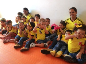 Marcello's nursery school class on game day.