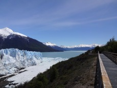 "To the left, one can see the thin arm of water connecting the two sides of Lake Argentino. This is called the ""Canal de Témpanos"" - Iceberg Canal - because of all the icebergs formed by the calving of the glacier."