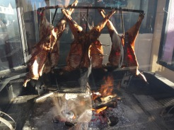 This area of Argentina is known for locally raised lamb. These guys are being roasted in the traditional fashion.