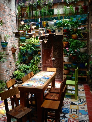 Jardín is famous for its sweets - jams and such. I was more intrigued by the lush seating area in the sweet shop.